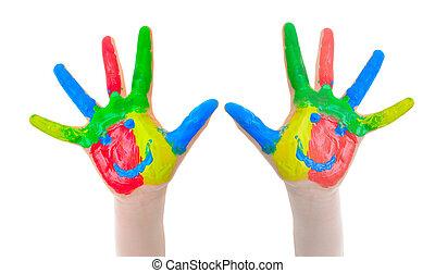 festett, child., kéz