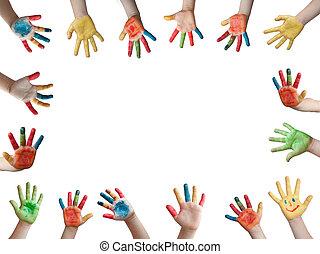 festett, gyerekek, kézbesít
