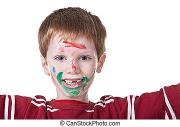 festett, gyermekek játék, festék, arc