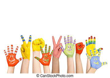 festett, gyermekek, kézbesít