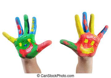 festett, kéz, gyermek