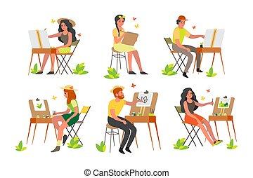 festmény, fiatal, levegő, plein, outdoors., művész, emberek