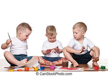 festmény, három gyerek