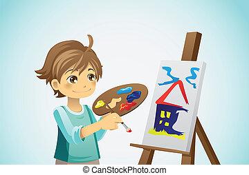 festmény, kölyök