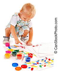 festmény, paint., tapogat, gyermek