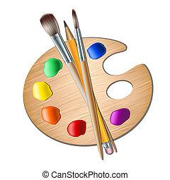festmény paletta, rajzóra söpör, rajz