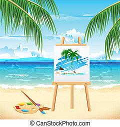 festmény, tengerpart, tenger