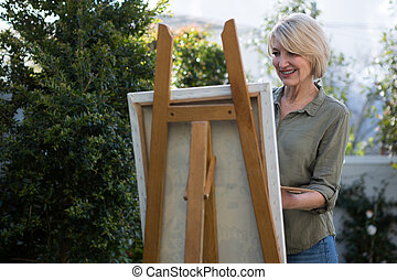 festmény, vászon, nő, gyönyörű