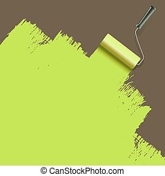 festmény, zöld, ecset, hajcsavaró