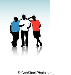 feszítőkötelek, körvonal, csoport, fiatal
