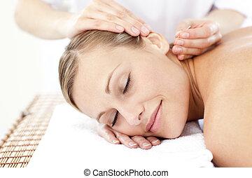 fesztelen, bánásmód, akupunktúra, felfogó, nő