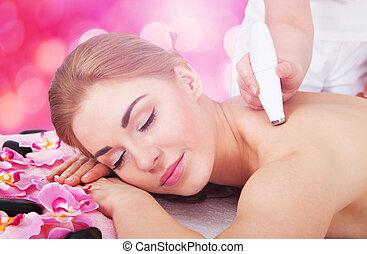 fesztelen, nő, terápia, felfogó, microdermabrasion