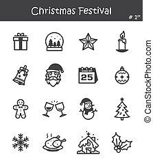fesztivál, ikon, 1, állhatatos, karácsony