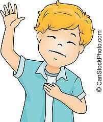 fiú, ábra, kéz, vallás, dicsér, kölyök