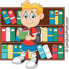 fiú, ábra, könyvtár