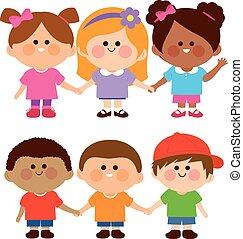 fiú, ábra, vektor, különböző, hands., csoport, birtok, lány