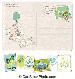fiú, állhatatos, levelezőlap, topog, születésnap, csecsemő