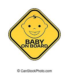 fiú, árnykép, arc, autó, böllér, fehér, sárga, rombusz, háttér., bizottság, gyermek, csecsemő, warning., aláír, mosolygós