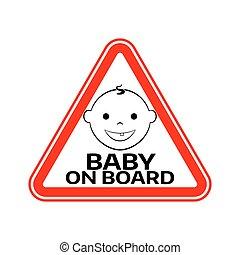 fiú, árnykép, autó, böllér, fehér, aláír, háttér., bizottság, gyermek, csecsemő, háromszög, warning., arc, mosolygós, piros