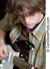 fiú, öreg, elektromos gitár, év, tizennégy, játék