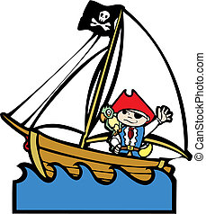 fiú, #1, csónakázik, kalóz