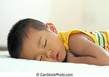 fiú, (2, japán, alvás, old), év