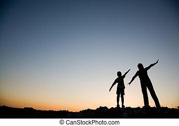 fiú, anya, sunset.