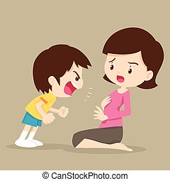 fiú, anyu, mérges, kiabálás