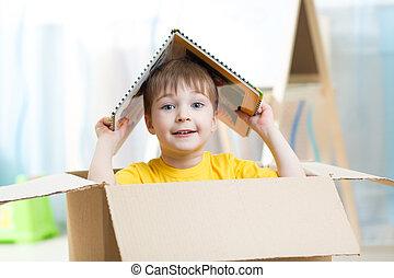 fiú, apró épület, gyermekszoba, játék, kölyök