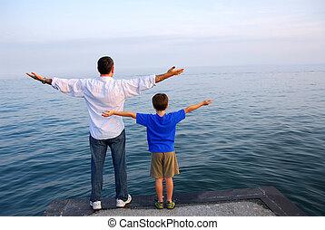 fiú, atya, óceán
