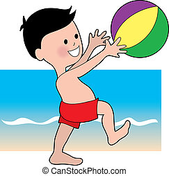 fiú, bal, tengerpart