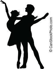 fiú, balett, táncol, körvonal, vektor, leány
