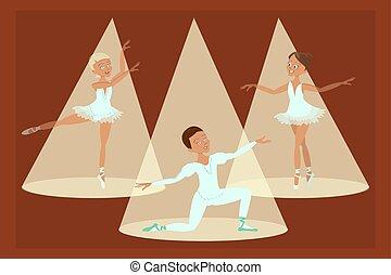 fiú, balett-táncosok, lány