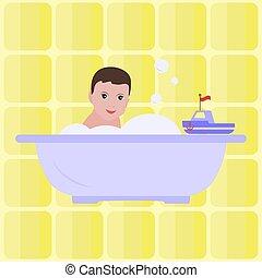 fiú, bath., vektor, childhood., bathroom., boldog