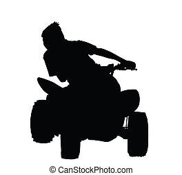 fiú, bicikli, árnykép, versenyzés, quad