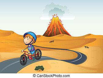 fiú, bicikli, dezertál, lovaglás