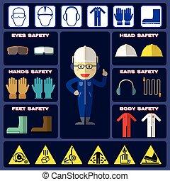 fiú, biztonság, equipments
