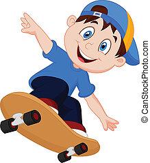 fiú, boldog, karikatúra, gördeszka
