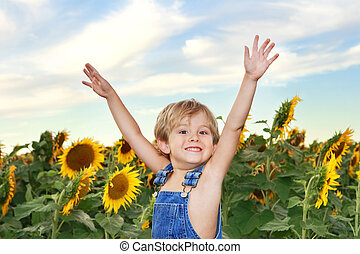 fiú, boldog, napraforgók, mező