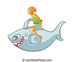 fiú, cápa, rakéta