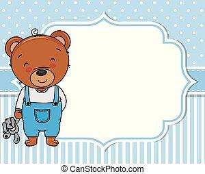 fiú, card., mackó, zápor, csinos, csecsemő
