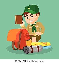 fiú, csomagolás, felderítő
