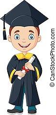 fiú, diploma, fokozatokra osztás, jelmez, birtok, karikatúra
