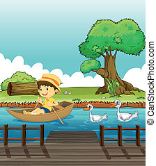 fiú, ellenőrzött, lovaglás, csónakázik, tenisznadrág