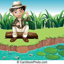 fiú, erdő, folyópart, ülés