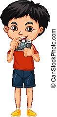 fiú, fényképezőgép, boldog, egy
