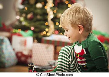 fiú, fa, fiatal, reggel, élvez, karácsony