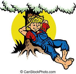 fiú, fa, maradék, alatt
