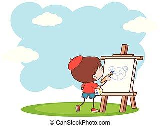 fiú, festmény, hord