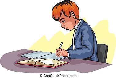 fiú, fiatal, írás